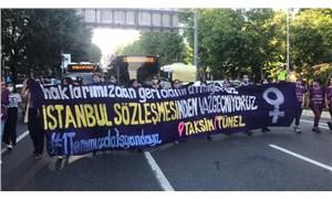 Kadınlardan İstanbul Sözleşmesi'nin feshedilmesine karşı yol kesme eylemi