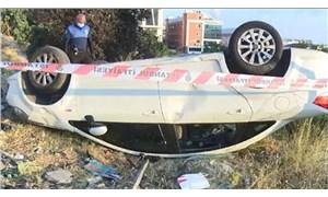 Esenyurt'ta takla atan aracın sürücüsü kayıplara karıştı