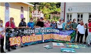 İkizderelilerden kaymakamlık önünde taş ocağı protestosu