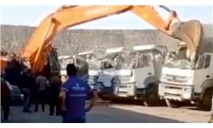 Alacağını vermeyen amcasına, kamyon parçalayarak tepki gösterdi