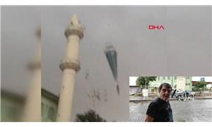 Fırtına camii minaresinin külahlarını uçurdu