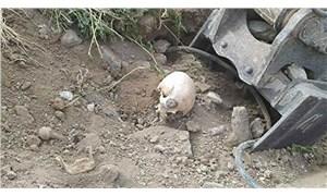 Ankara'da yol çalışması sırasında belediye ekipleri insan kemikleri buldu