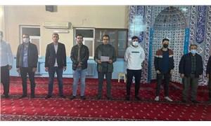 TÜGVA, dine sığındı: Cami içinde basın açıklaması