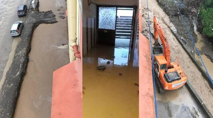 Selin vurduğu Bozkurt'ta sağanak yağış sonrası sokaklarda su baskını